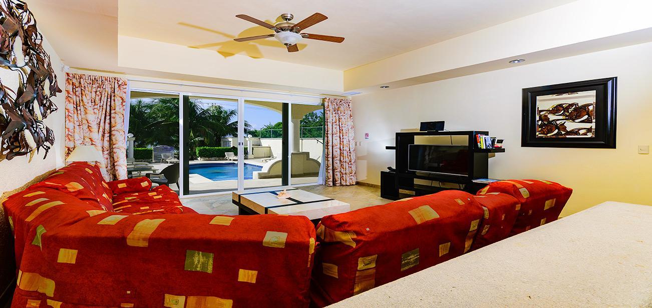 Living Room at Villa Las Uvas Three Bedroom Unit With  Large Sleeper Sofa